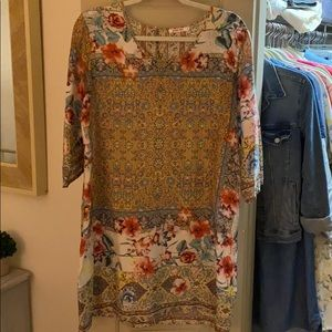 Johnny Was floral silk shift dress small